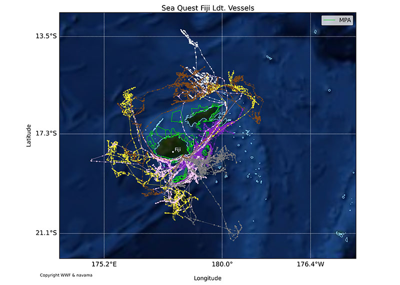 Vessel tracks with satellite AIS