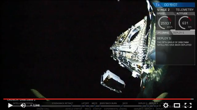 OG2 satellite being deployed by SpaceX