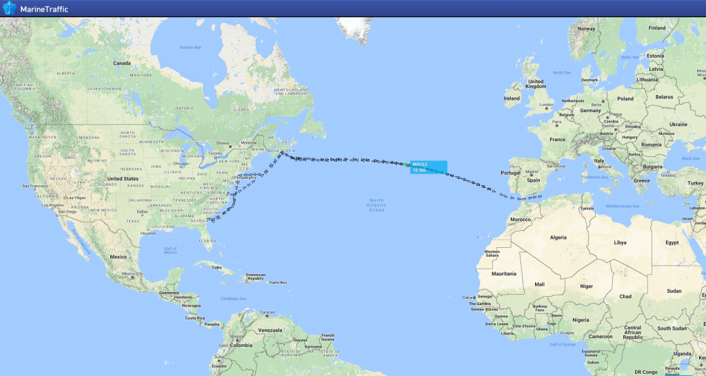 ais ship tracking across the Atlantic
