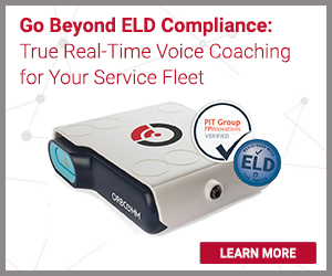 Go beyond ELD compliance: true real time voice coaching for your service fleet. In-cab device with logo.